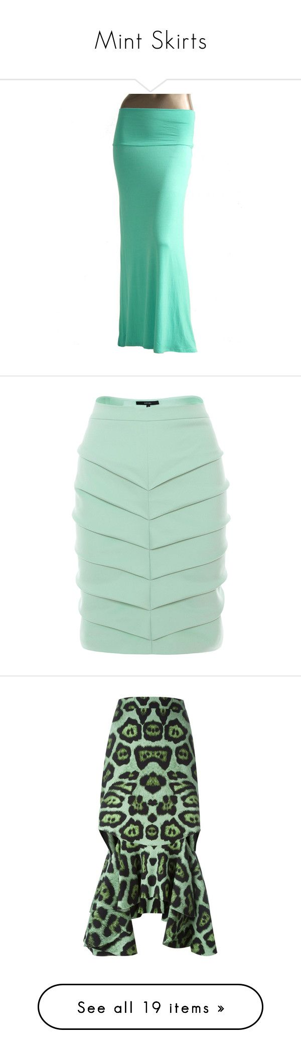 """Mint Skirts"" by eternalfeatherfilm on Polyvore featuring skirts, turquoise, ankle length skirt, long green skirt, mint skirts, floor length skirts, mint green skirt, bottoms, green pencil skirt and fold-over maxi skirt"