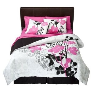 Hot Pink, Black & White Teen Girls Flowers Bedding Set