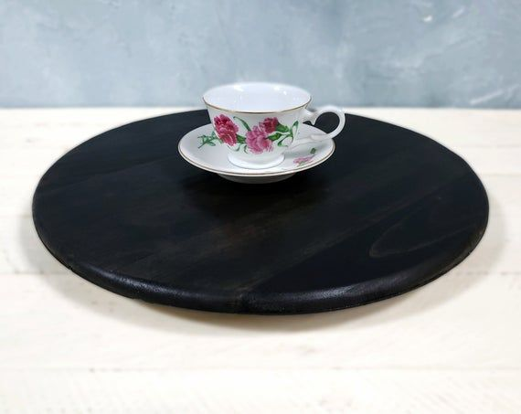 Lazy Susan Table Riser Round Distressed Ebony Pallet Turntable Rotating Dining Table Centerpiece Spinning Tablescaping Seving Board Lazy Susan Table Dining Table Centerpiece Lazy Susan