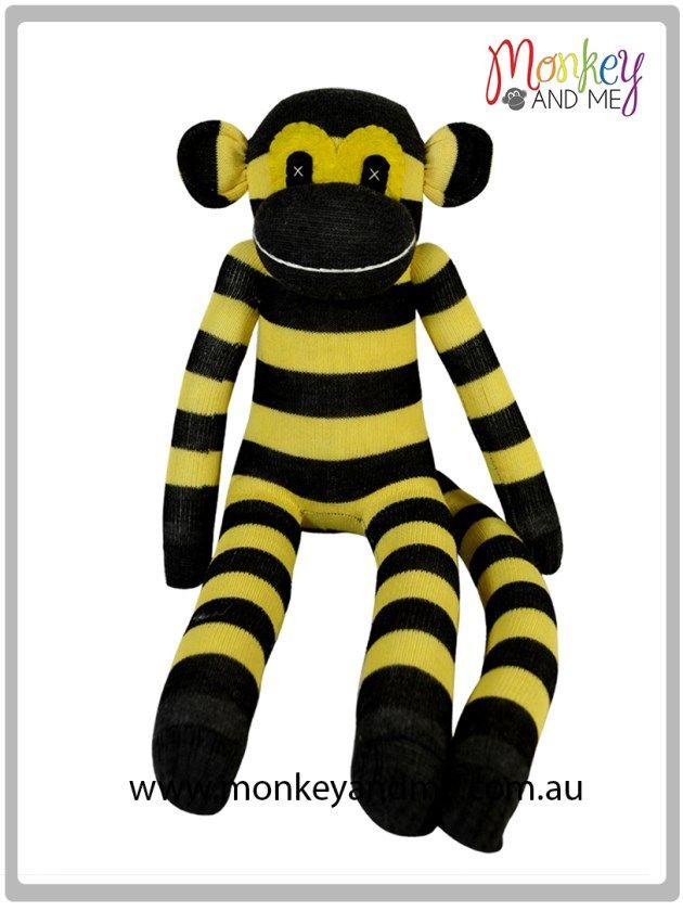 Black and Yellow Sock Monkey  Adopt over at monkeyandme.com.au #sockmonkeys #gifts #toys
