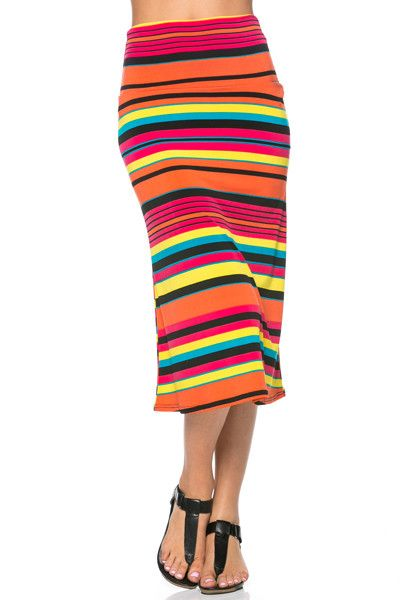 colorful striped banded midi skirt products