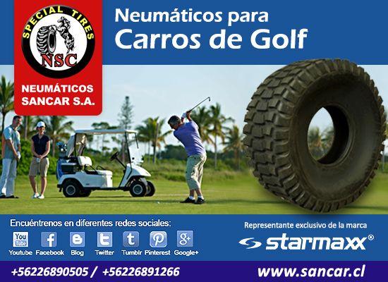 Neumáticos para Carros de Golf Todos en sun solo lugar  www.sancar.cl – ventas@sancar.cl - Antillanca 560 módulo 5 Lo Boza Pudahuel - Teléfono +56226890505   Bascuñán Guerrero 540 Santiago - Teléfono +56226891266