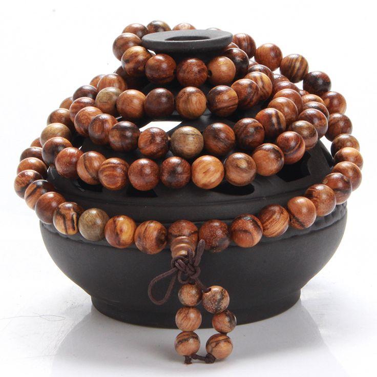 High Quality Tiger Stripes Wood Handmade 108 Twining Buddha Bead Bracelets Prayer Mala Bracelet Women Men Jewelry