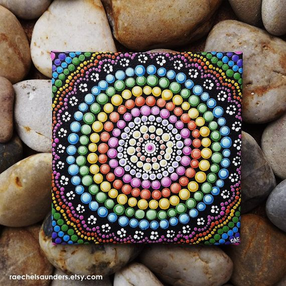Aboriginal Dot Art Rainbow Painting, Acrylic paint on Canvas Board, Hand Painted Original, 10cm x 10cm, Rainbow decor, Rainbow design