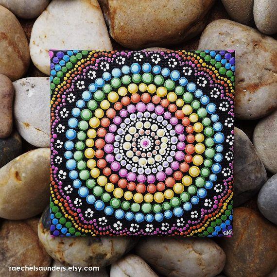 Aborigines Dot Kunst Regenbogen Malerei Acryl von RaechelSaunders