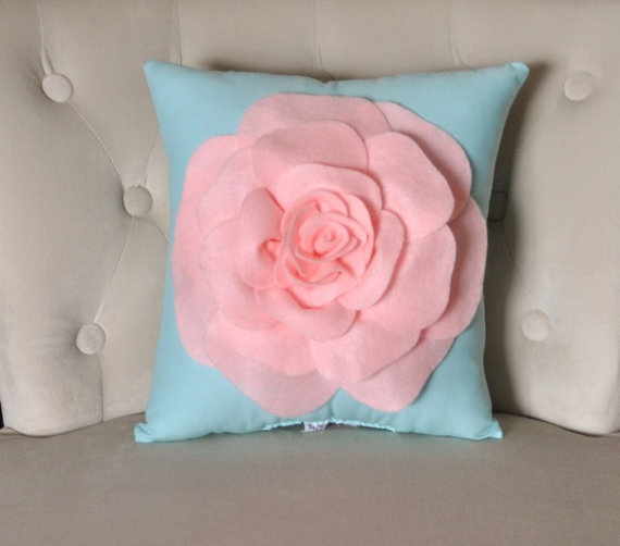 Baby Pink Rose on Aqua Pillow Baby Nursery Decor by bedbuggs, $33.00