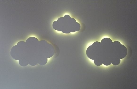 Nuvem com led luminaria quarto bebe 3pc