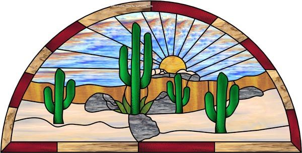 Cactus Flower Stained Glass Window | ... decorative window film stained glass window films and graphics