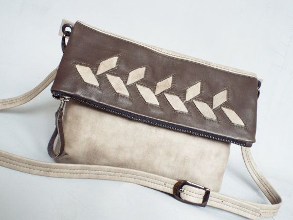 Leather foldover crossbody bag. Gray crossbody purse. by 5plus