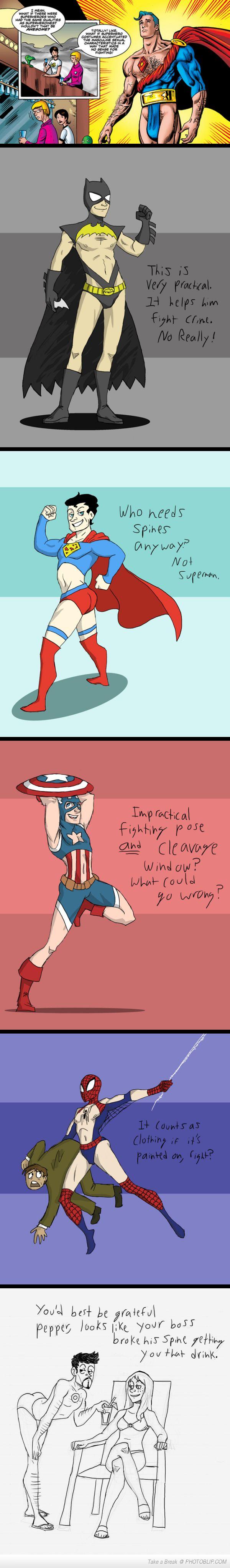 If Male Superhero Costumes Were Designed Like The Females