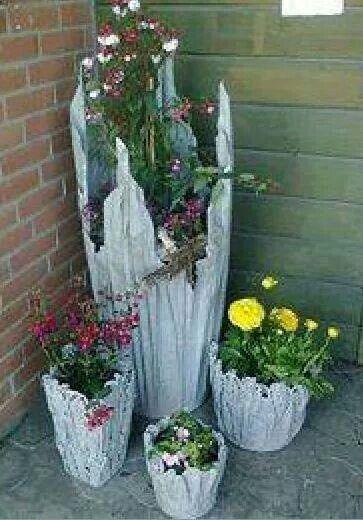 Vasos feitos de tecido e cimento