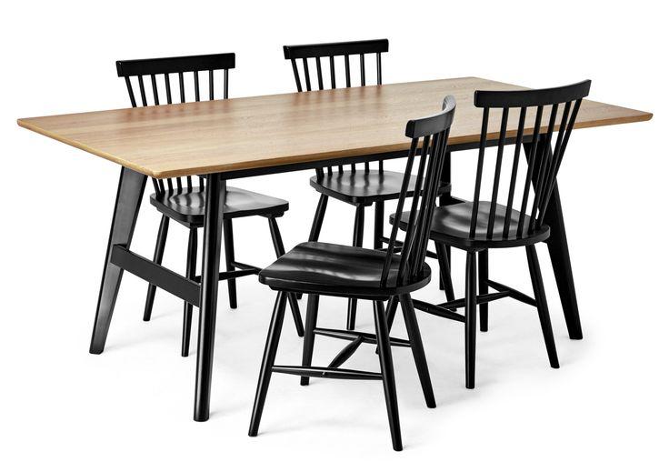 Edvin är ett matbord i skandinavisk retro modern design. Det har ett tilltalande formspråk med fina detaljer. Bordet har skiva i lackerat ekfaner och underrede i svart- eller vitlackerad massiv björk. Tillsammans med pinnstolen Nils i massivt gummiträ får du en tidlös matgrupp.