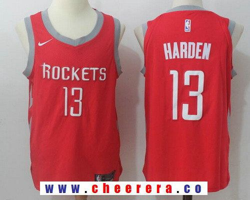 new styles 24a8a f29bd Men's Houston Rockets #13 James Harden New Red 2017-2018 ...