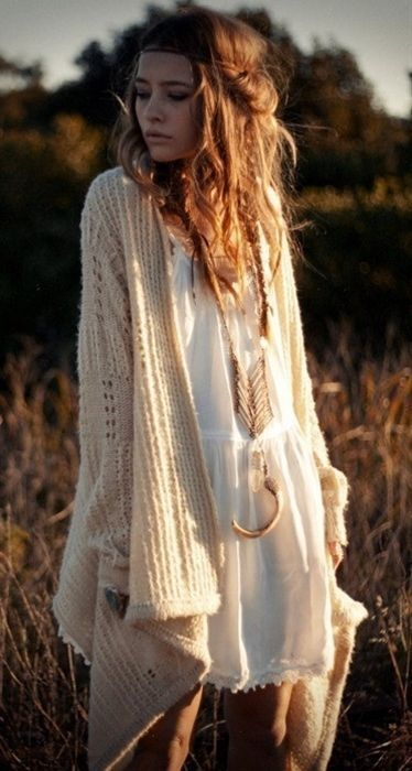 Love the idea of chunky cardigans and flowy dresses. Not a fan of the necklace. I think I typically like a variety or subdued patterns and textures in more neutral tones than bright colors in most of my outfits.