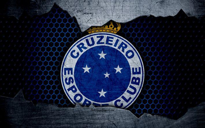 壁紙をダウンロードする Cruzeiro, 4k, エクストリーム-ゾー, ロゴ, グランジ, ブラジル, サッカー, サッカークラブ, 金属の質感, 美術, Cruzeiro FC