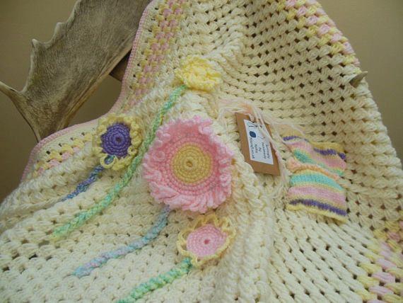 Crochet bebé manta flor bebé ducha regalo recién nacido niña
