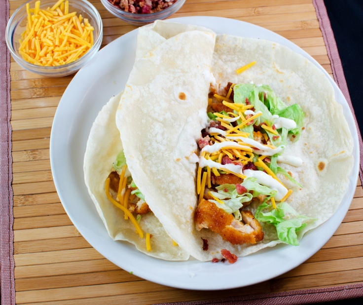 Buffalo Ranch Chicken Tacos(Chili's Crispy Chicken Taco Copycat recipe) Do shrimp instead of chicken.