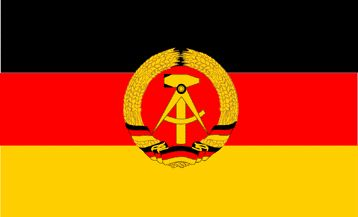 The flag of the German Democratic Republic. The German Democratic Republic was formed in 1949 and occupied soviet controlled East Germany until it was dissolved in 1990.