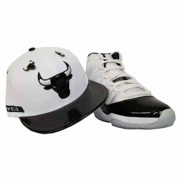 26b87d9f1a35e Matching New Era Chicago Bulls Dual Pin Snapback for Jordan 11 White Black  Concord