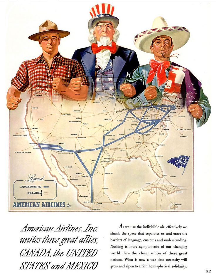 1943 American Airlines Route Map Uncle Sam Canada Mexico Wwii
