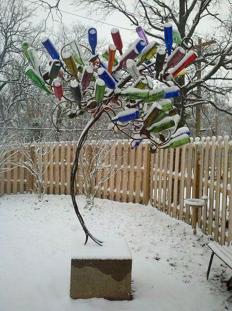 Artsy Bottle Tree In The Snow