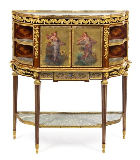 A Louis XVI Style Gilt Bronze Mounted Marquetry Secretaire Abattant Heigh French FurnitureAntique