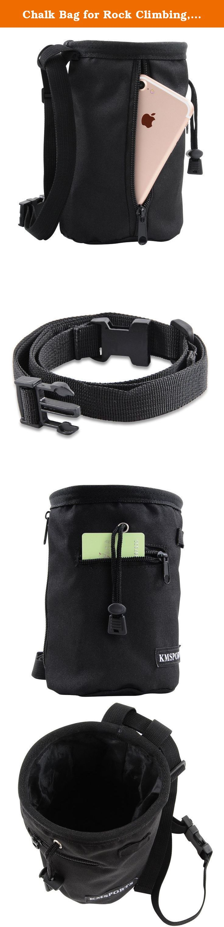Chalk Bag for Rock Climbing, Weightlifting, Bouldering & Gymnastics with Quick-clip Belt - 2 Large Zippered Pockets for Securely Holding iPhone 6 Plus / Galaxy S6+ and Other Valuables. Premium heavy duty quality Chalk Bag,Make you climb to the top easily. 2 Large Zippered Pockets 2 large zippered pockets for securely holding iPhone 6 Plus / Galaxy S6+ and other Valuables while climbing Premium Heavy Duty Quality with Tactical Design Strong and durable for many uses , use as a Rock…