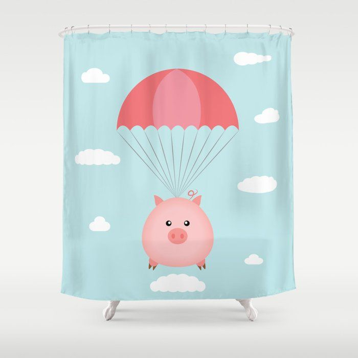 Buy Baby Pig In A Parachute Shower Curtain By Queenielamb