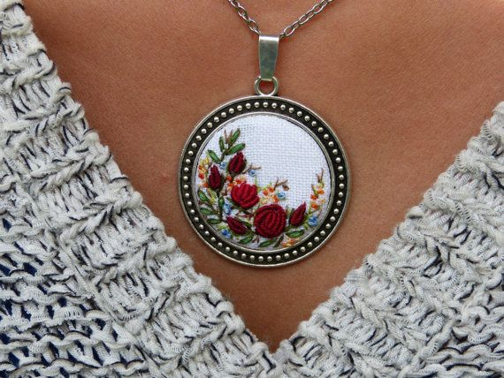Floral embroidered necklace pendant Embroidered silver tone Needlework Romantic…