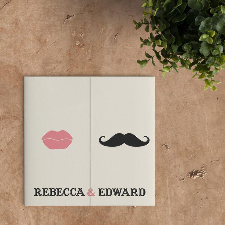 Stijlvol en elegant, trouwkaart Snor en Lippen gebruikt simpele en doeltreffende illustraties om een grappig en visueel herkenbaar beeld neer te zetten.