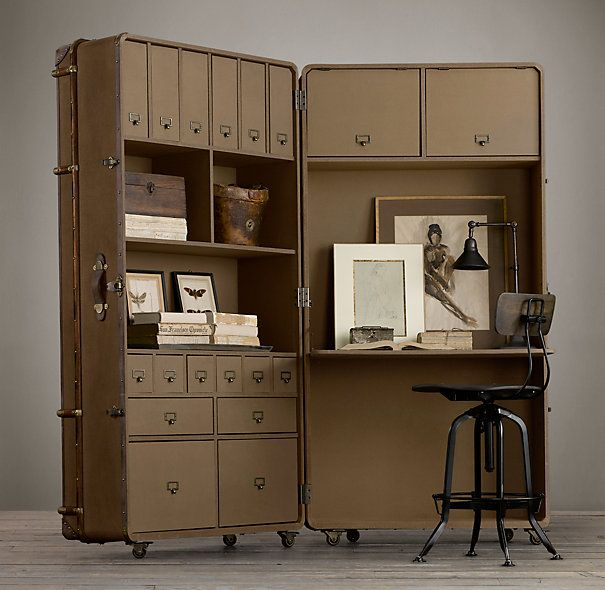 Richards' Canvas Secretary Trunk :: This would be an amazing craft desk or home office. And if you're into steampunk, it's already 80% of the way there. You'd just have to add some touches to personalize it.