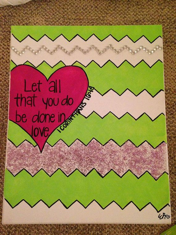 Girl Bible Verse Canvas Painting on Etsy, $25.00- background idea: heart and chevron