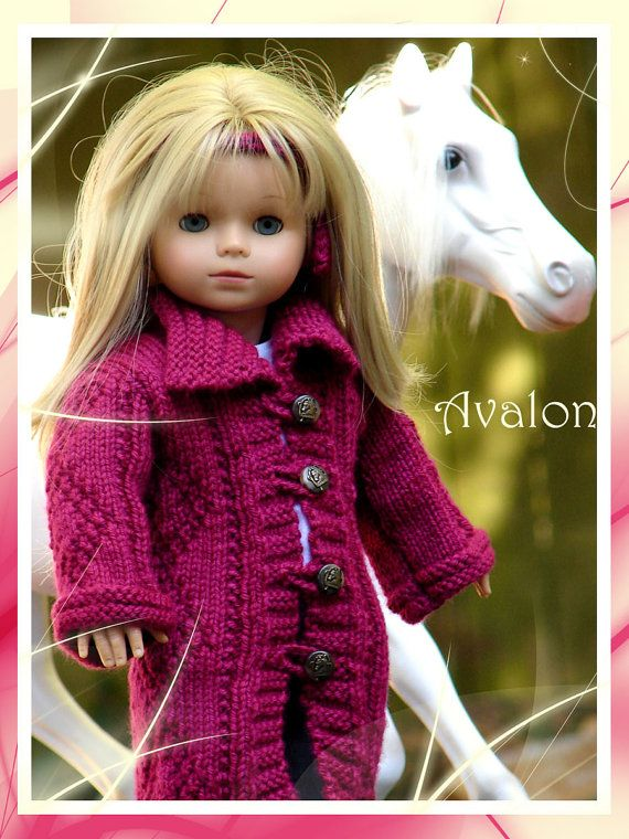 "Avalon, a textured stitch maxi cardigan/coat knitting pattern designed to fit 18"" American Girl Dolls"