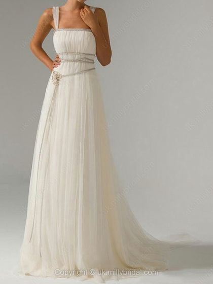 A-line Straps Tulle Sweep Train Pearl Detailing Wedding Dresses -USD$194.19