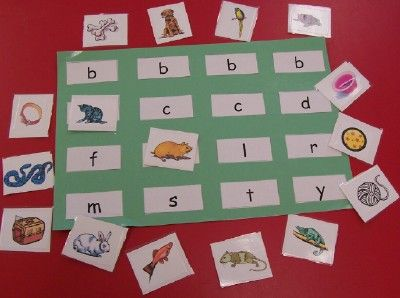 Literacy Center Idea- match letter with beginning sound
