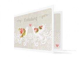 Einladungskarte Turteltaube in schönen Farben