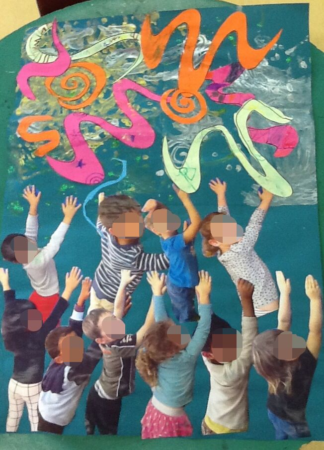 Children created swirly sky which inspired by Van Gogh's 'Starry  starry night'