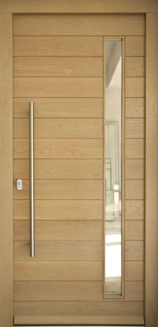 Puerta de entrada abatible / de madera maciza / semividriada - MALIA - Block95