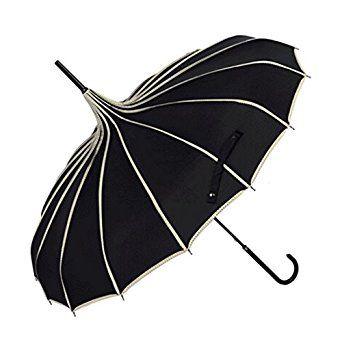 Black and white pagoda umbrella