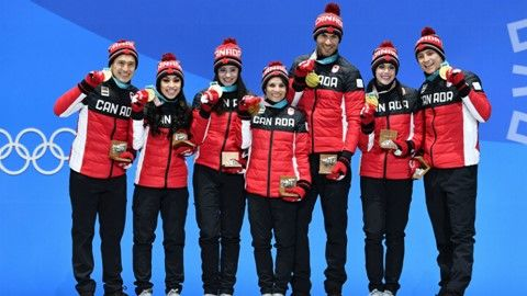 Canada's figure skating team receives their gold medals