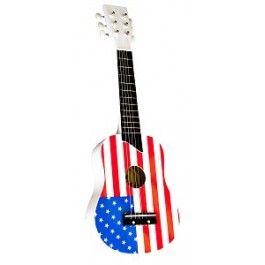 New Classic Toys gitaar amerikaans. Een mooie speelgoed gitaar met de amerikaanse vlag erop.