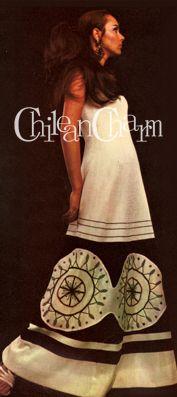 """CHILEAN CHARM / LA MODA DE MARCO CORREA 1969, """"Traje de noche de aplicaciones geométricas realizado para el Miss Universo""""."""