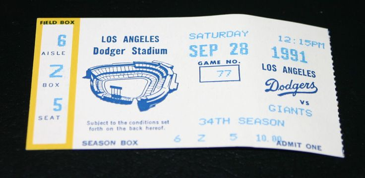 giants vs la dodgers 9/28/91 season ticket game #77 - 34th season from $5.99