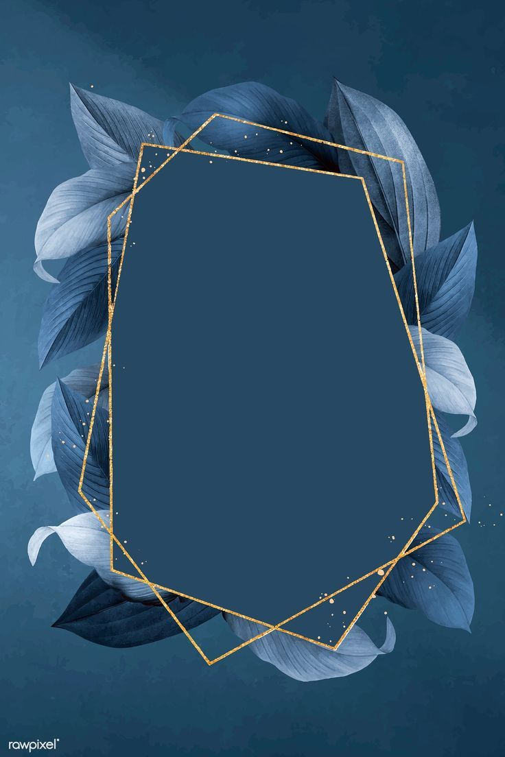 Download premium vector of Hexagon foliage frame on blue background vector – #ba…