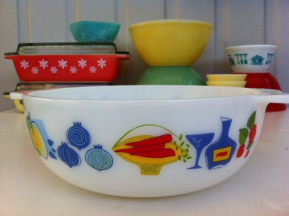 JAJ Fiesta Pyrex bowl with cute vegetables, cherries and wine pattern! From Fibs and Scraps on Etsy.