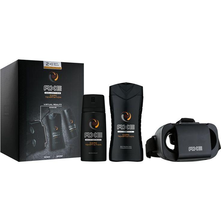 Axe Dark Temptation dárková sada III.  sprchový gel 250 ml + deodorant ve spreji 150 ml + brýle pro virtuální realitu 1 ks