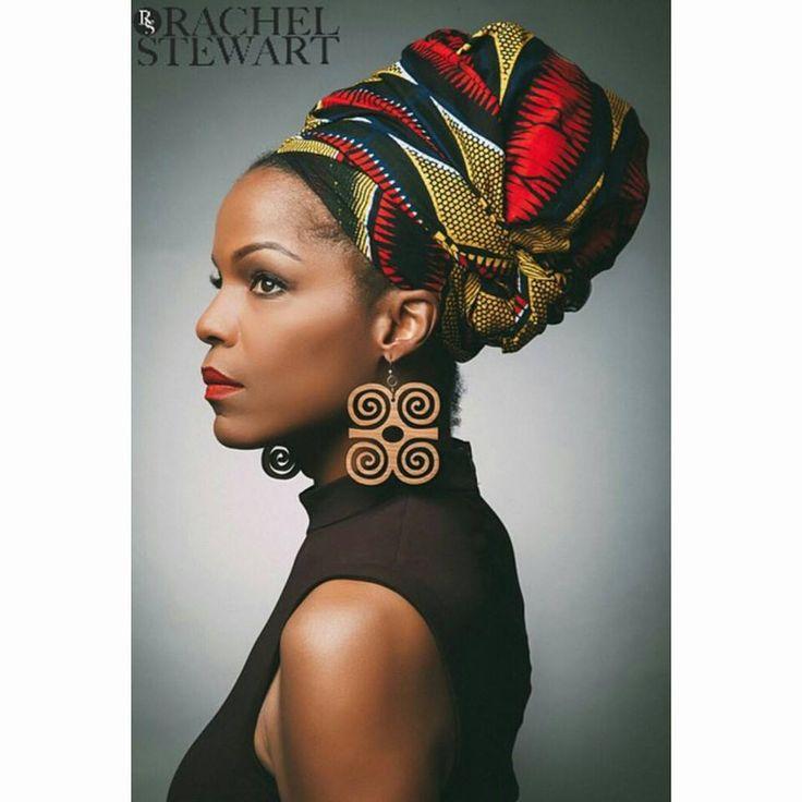 African head wrap & adinkra earrings