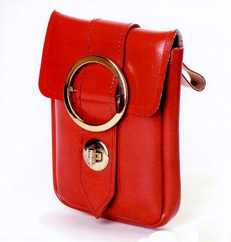 1970s -USA ... small vinyl belt bag gold-tone buckle turn-lock closure