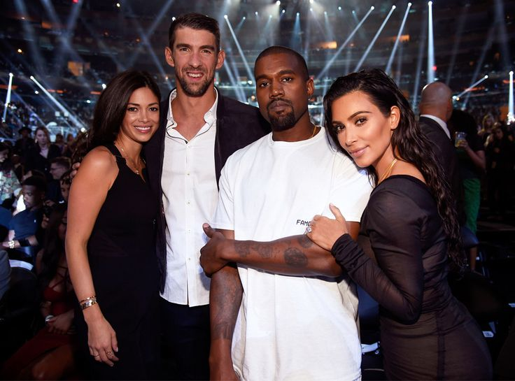 Nicole Johnson, Michael Phelps, Kanye West, Kim Kardashian West from The Big Picture: Today's Hot Pics  America's sweethearts! The couples meet up and pose for photos at the MTV VMA's in NYC.