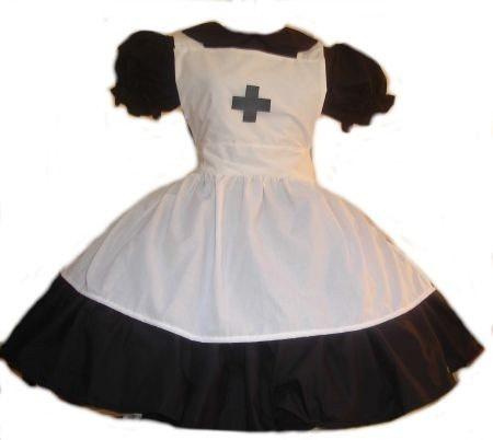 Gothic Nurse Halloween Costume Black Dress and White Apron with Cross Custom Size Plus Size